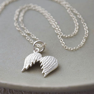 Angel Wings Necklace With Personalised Message - gifts for mothers