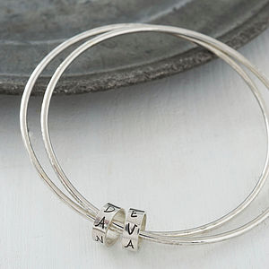 Personalised Silver Keepsake Bangles - under £75
