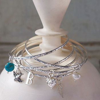 Personalised Sterling Silver Charm Bangle