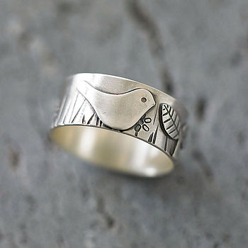 Bird In The Garden Silver Ring
