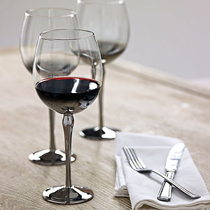 Set Of Six Silver Plated Wine Glasses