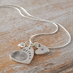 Personalised Fingerprint Charm Necklace - gifts for mothers