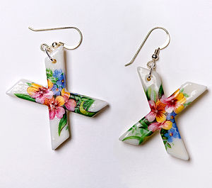 Porcelain 'XX', 'XO' Or 'AZ' Letter Earrings