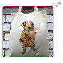 happy labrador cotton bag