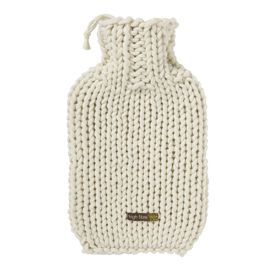 hand knitted hot water bottle cover by high fibre design ...