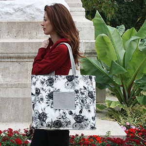 Reversible Floral And Stripe Five Pocket Tote - bags, purses & wallets