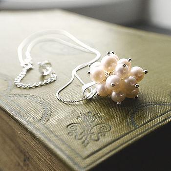 Chrysanthemum Pearl Necklace, handmade by Rachel Lucie