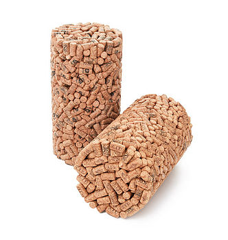 1000 regular wine corks formed together to make an unique stool