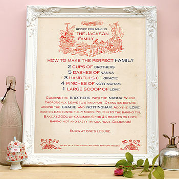 Antique-Style Personalised Recipe Print