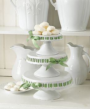 Three Tiered Cake Stand With Green Ribbon