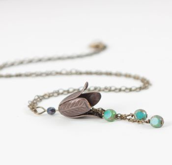 Bronze Tulip And Turquoise Necklace