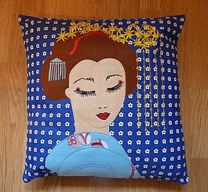 Embroidered Geisha Cushion Cover - cushions
