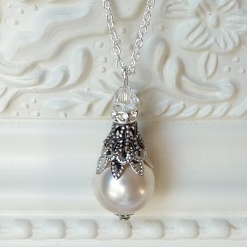 Filigree And Pearl Pendant Necklace - 1cm Pearl
