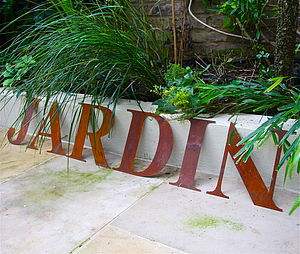 Oversized Rusted Garden Letter - room signs