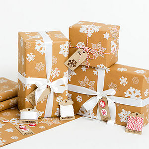 Snowflakes Brown Christmas Wrapping Paper Set - ribbon & wrap