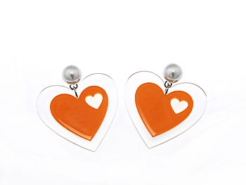 Orange Pearl Heart earring