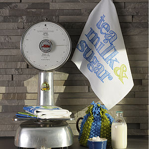 'Tea Milk And Sugar' Tea Towel