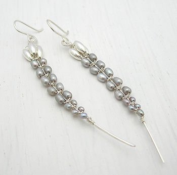 Orchid Stem Pearl Earrings