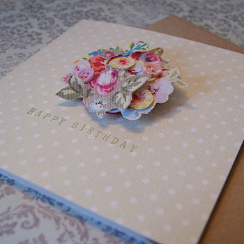 Bouquet Material Decoupage Badge Card