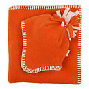 Orange  Fleece Baby Hat & Blanket Set
