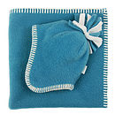 Turquoise Fleece Baby Hat & Blanket Set