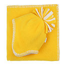 Yellow Fleece Baby Hat & Blanket SEt