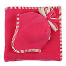Bright Pink Fleece Baby Hat & Blanket Set