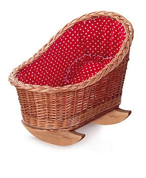 Wicker Doll's Cradle With Red Bedding