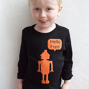 Personalised Robot Children's T Shirt - best gifts for boys