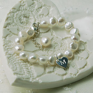 Girl's Pearl Bracelet With Token Heart Charm - bracelets