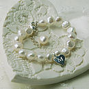 Girl's Pearl Bracelet With Token Heart Charm