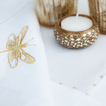Dragonfly Napkin with Co-ordinating Gold Runner