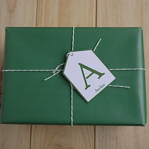 Personalised Initial Gift Tag - Small - ribbon & wrap