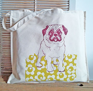 Pug Dog Canvas Shopper - womens
