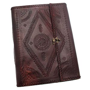 Indra XL Embossed Stitch Leather Photo Album - 3rd anniversary: leather
