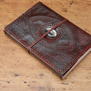 Indra A4 Embossed And Stoned Leather Journal - writing