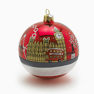 Lon Skyline Glass Christmas Decoration