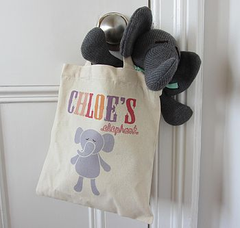 Knitted Elephant In Personalised Tote Bag