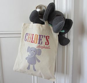 Knitted Elephant In Personalised Tote Bag - storage bags