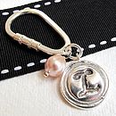 Personalised silver wax seal keyring with additional pearl