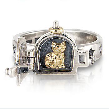 Cat Opening Locket Ring
