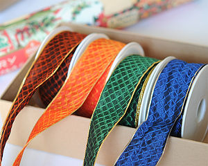 Wire Edged Diamond Ribbon 25 Metre Roll - wedding cards & wrap