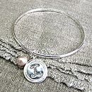 Personalised wax seal charm on bangle with pink pearl
