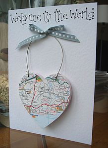 Personalised Map Keepsake Card - christening cards