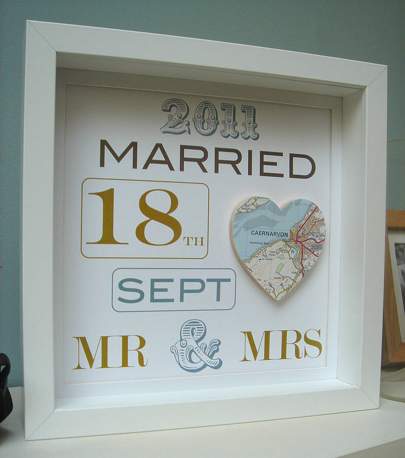 Wedding Gift For Bridesmaid: Personalised Mr And Mrs Map Picture