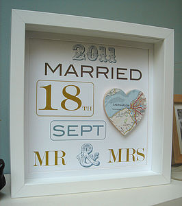 Personalised Mr And Mrs Map Picture| Wedding Gift