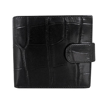 Black Croc Leather Men's Wallet