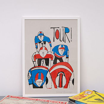 'Tour' Vintage Style Cycling Screen Print