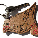 Embroidered Leather Bird Keyring
