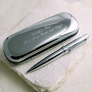 Silver Plated Pen With Presentation Case - stationery & desk accessories